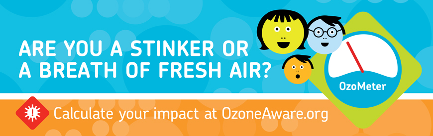"Regional Air Quality Council outdoor board ""Are you a stinker or a breath of fresh air?"""