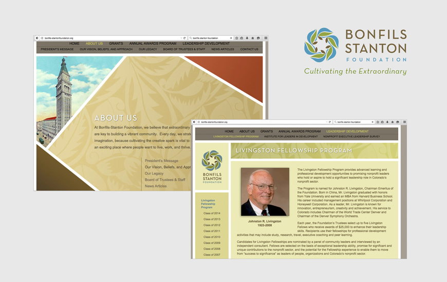Example of Bonfils-Stanton Foundation's old brand presence before Launch conducted a rebranding effort.