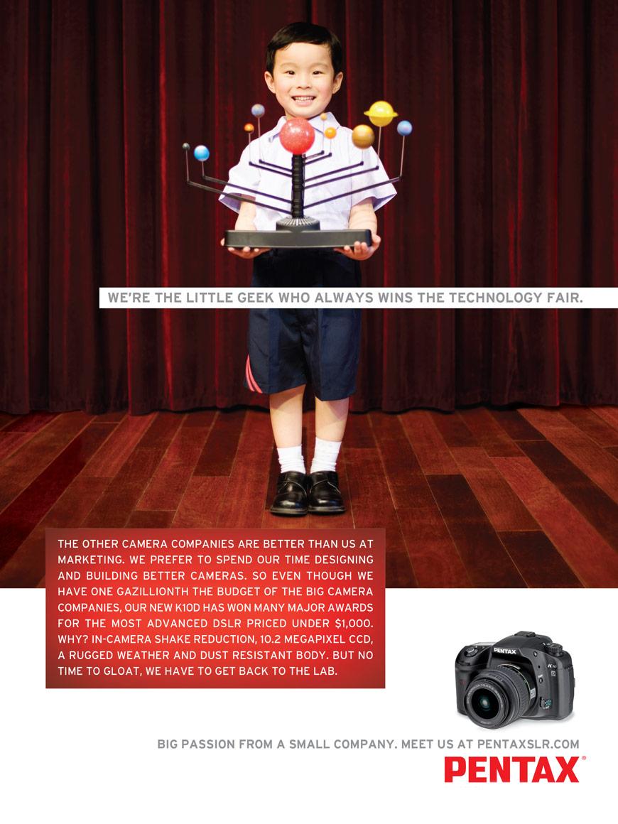 """Pentax Print Ad """"Little Geek"""""""