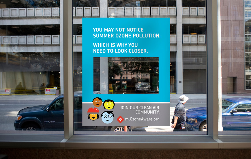 "Regional Air Quality Council OzoneAware window cling ""Look closer"""